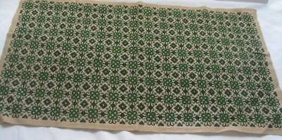 vintage Christmas table runner   Needlepoint Petit Point beautiful green & gold