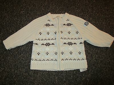 Baby Boys TIMBERLAND Jacket 9 Months Knitted Cardigan Zip Beige Brown Used