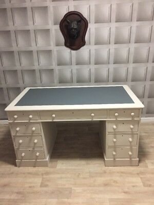 Antique Victorian Leather Top Writing Desk Painted Chalk Paint FREE UK P&P🇬🇧