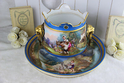 Antique French Planter Jardiniere Plate in sevres porcelain lion heads putti