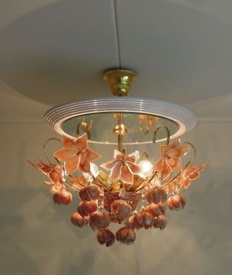 Unusual Rare Murano hand blown tulips floral pendant chandelier pink lamp