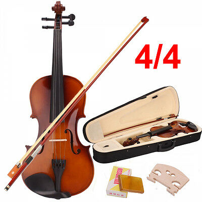 New Full Size 4/4 Violin Handed Natural Acoustic Fiddle with case Bow Tangerine