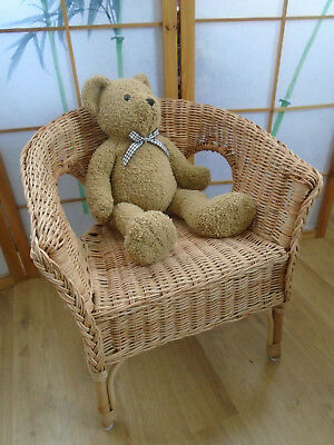 Vintage Lovely Hand Woven Basket Style Wicker Childs Chair Teddys Dolls Display