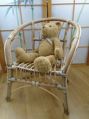 Vintage Lovely Bamboo Style Wicker Childs Chair Teddys Dolls Display