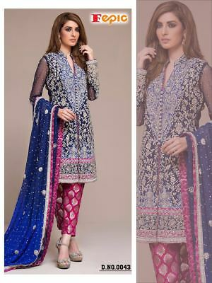 Blue Heavy Work Wedding Salwar Kameez Designer Pakistani Wedding Bridal Dress 43