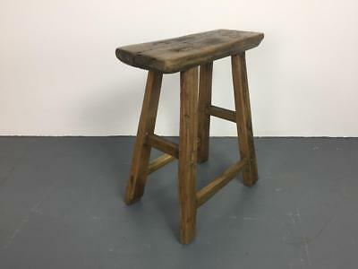 Vintage Rustic Antique Wooden Stool Milking Large Waxed W114