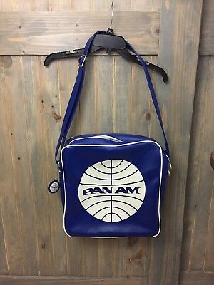 Pan Am Certified Travel Carry On Bag Tote Blue-White EXCELLENT