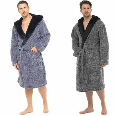 MENS COSY MARLE Shaggy Fleece Contrast Hooded Bath Robe - Sizes M L ... 1fa850cca