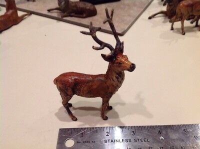 Vintage Germany Metal Lead Stag Deer Christmas Putz Figurine RARE!