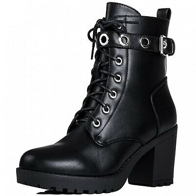 order online look for outlet WOMENS LADIES CHUNKY Block Heel Lace Up Biker Combat ...
