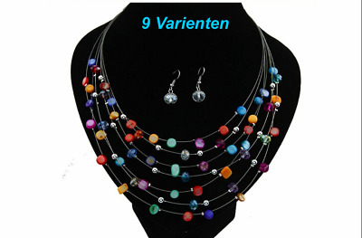 Chain Multiple-Row Earrings Free Set Necklace Colourful Red Pearl Gift Girls