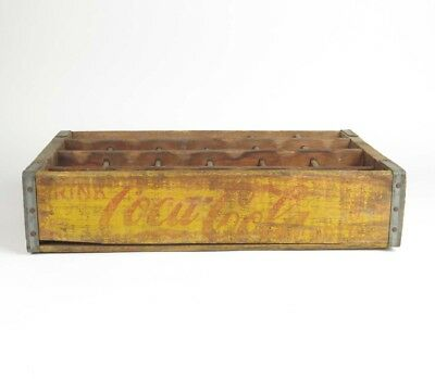 Vtg Coca Cola wood carrier box crate yellow bottle caddy divided 24