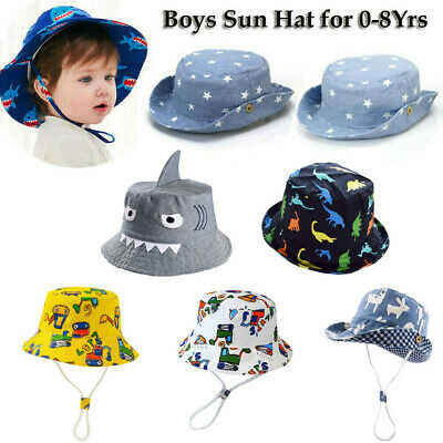 bbdc61b0483fa0 Kids Boys Sun Hat Baby Toddler Beach Bucket Hat UV Fisherman Cap For 0-8