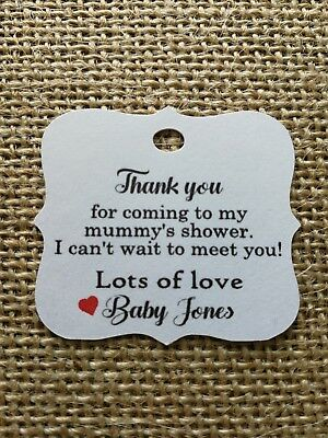 Personalised Baby Shower Tags Thank you guest favour Tags x30