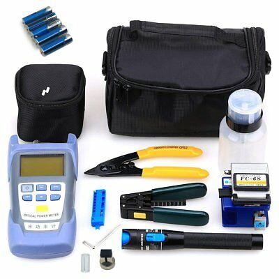 18pcs Fiber Optic FTTH Tool Kit FC-6S Cutter Fiber Cleaver Optical Power MeterNG