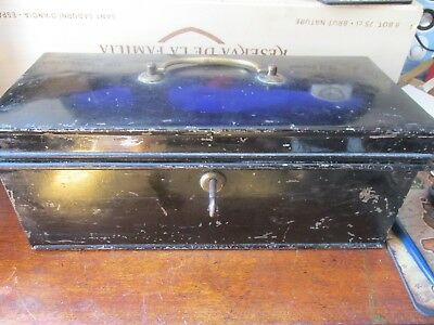 Vintage Black Metal Deeds / Storage Tin with Key