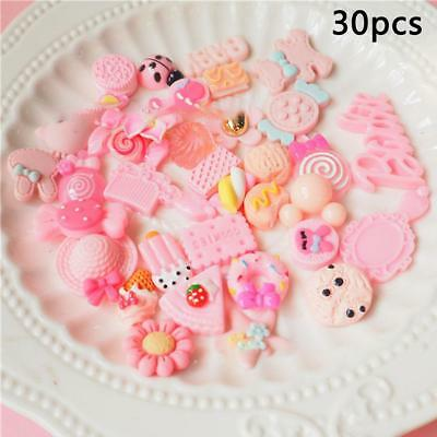 30pcs Slime Charms Mixed Pink Series Beads Making Supplies DIY Collage Girl