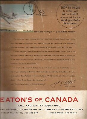 Eaton's of Canada Fall and Winter 1959/60 Catalog in VG condition 610 pages