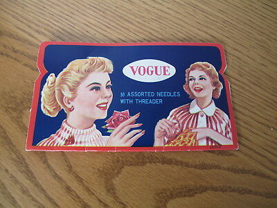 Vintage Vogue Advertising Folding Card with Ladies Sewing Needles