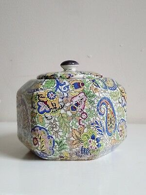 Antique Paisley Pattern Lidded Pot Trinket Dish