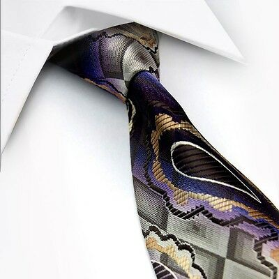 GIFTS FOR MEN Classic Mens Paisley Floral Silk Necktie Formal Tie Purple Gold