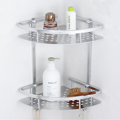 Tiers Corner Storage Holder Shelve Shower Bathroom Shampoo Wall Mounted Stand