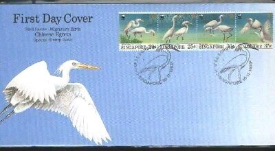 "Singapore, 1993, ""wwf Migratory Bird"" Stamp Set On Gpo Fdc Fresh Good Condition"