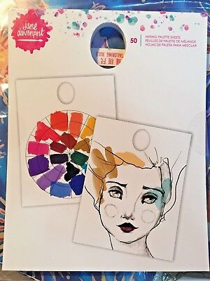 New JANE DAVENPORT MIXING PALETTE SHEETS Paper Pad of 50 Water Color Mixed Media