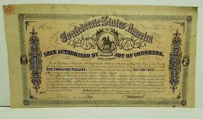 $1000 Confederate States Bond - Signed by E. Apperson - Certificate of Authentic