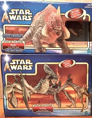 Star Wars AOTC GEONOSIS BATTLE ARENA Beasts REEK NEXU & ACKLAY 3 Beasts LOT 2002