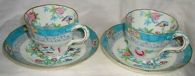Pair Of Antique English Minton  Porcelain   Cup And Saucer Handpainted