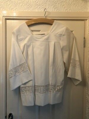 White Polyester Church Cotta with inset IHS lace, catholic, anglican altar serve