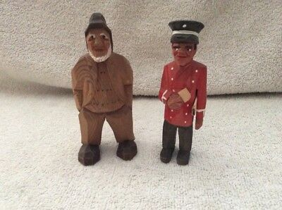 Pair Of Vintage Hand Carved Wooden Figures, Possibly Black Forest