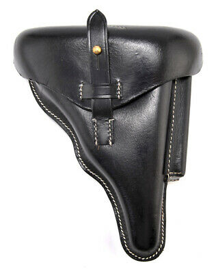GERMAN WW2 P08 LUGER HOLSTER Black Leather Police Model Marked A. Fischer Berlin