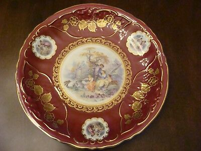 Antique Mitterteich Bavaria Germany charger plate with country scene