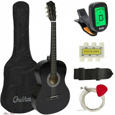 Acoustic Guitar Beginner Kit Musical Instruments Tuner Pick Case Strap Black NEW
