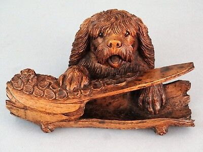 Antique Black Forest Carved Dog Inkwell & Pen Tray, Spaniel, Retriever