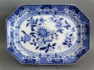 Antique English Masons Blue & White Platter, Comb Back, Large