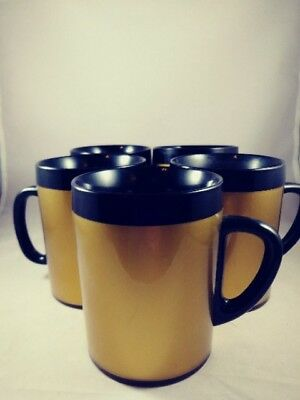 Thermo-Serve Wb Coffee Mugs/cups , Set Of 5, Black & Gold, Plastic, Vintage