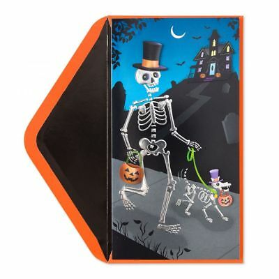 Papyrus Greetings Halloween Card Dog and Owner Skeletons-Cute