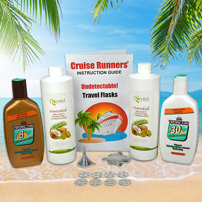 Fake Shampoo Conditioner Sunscreen Flasks For Alcohol Rum Runners For Cruise Kit