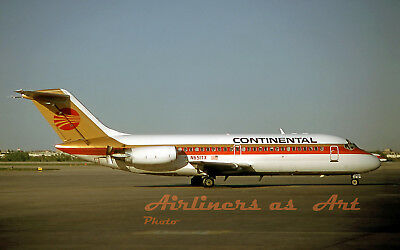 """Continental Airlines Douglas DC-9-14 N651TX in May 1985 8""""x12"""" Color Print"""