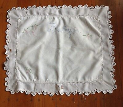 Vintage White Embroidered Crochet Edged Baby Cot Pillowcase