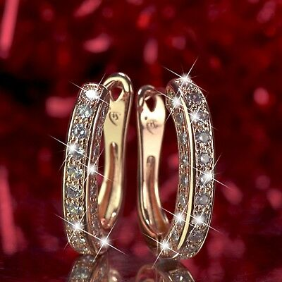 Aeiwo 18K Rose Gold Gf Huggies Simulated Diamond Earrings Fashion