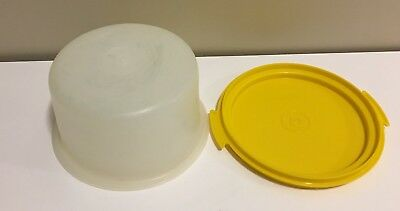 Vintage Tupperware Toys Mini Cake Carrier Yellow Base Sheer Top Childs Toy