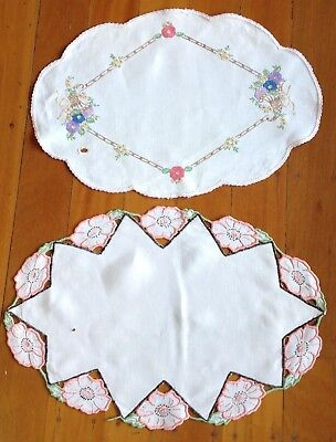 Two Vintage Oval Embroidered Doileys