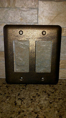 Double Rocker Metal Switch Plate Cover, Old World, Medieval, Tuscan, traditional