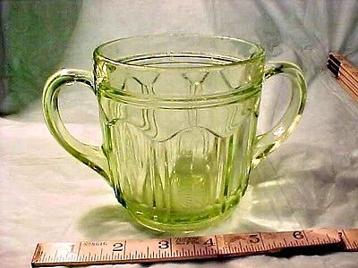 "NICE OLDER Green Depression GLASS STYLE Sugar Bowl 4 1/2"" T X 4"" R  2 handle"