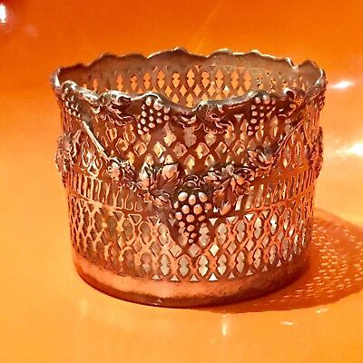 Vintage Antique SILVER PLATE WINE BOTTLE COASTER tall Pierced openwork grapes