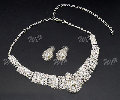 Wedding Party Bridal White Diamante Crystal Drop Necklace Earrings Jewelry Set